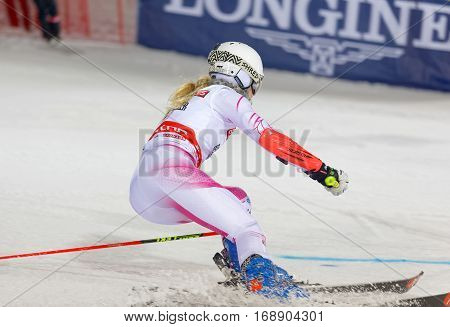 STOCKHOLM SWEDEN - JAN 31 2017: Side view of Resi Stiegler (USA) in the parallel slalom downhill skiing at the Alpine Audi FIS Ski World Cup - city event January 31 2017 Stockholm Sweden