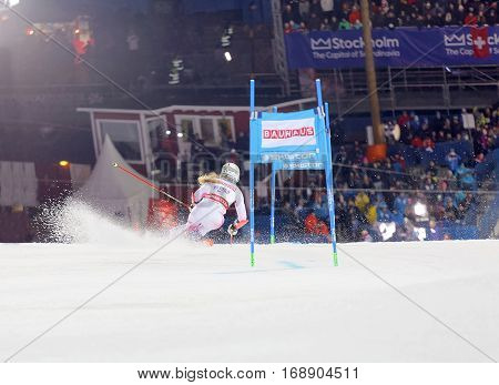 STOCKHOLM SWEDEN - JAN 31 2017: Rear view of Resi Stiegler (USA) in the parallel slalom downhill skiing at the Alpine Audi FIS Ski World Cup - city event January 31 2017 Stockholm Sweden