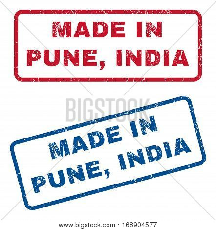 Made In Pune India text rubber seal stamp watermarks. Vector style is blue and red ink caption inside rounded rectangular banner. Grunge design and unclean texture. Blue and red emblems.