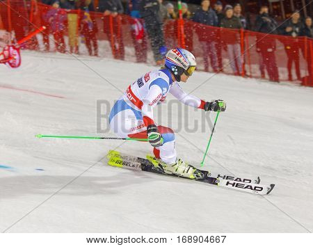 STOCKHOLM SWEDEN - JAN 31 2017: Side view of Denise Feiereabend (SUI) in the parallel slalom downhill skiing at the Alpine Audi FIS Ski World Cup - city event January 31 2017 Stockholm Sweden