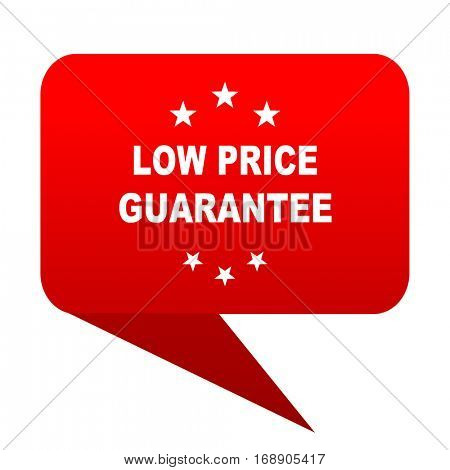 low price guarantee bubble red icon
