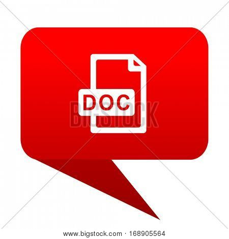doc file bubble red icon.