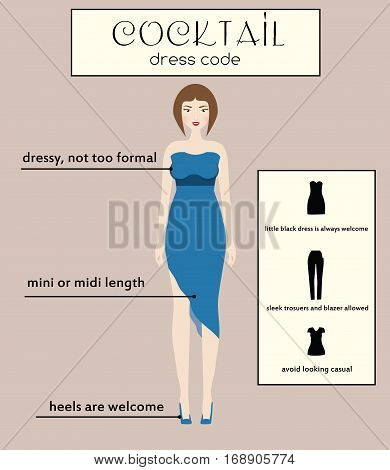 Woman cocktail dress code infographic. Female in dressy blue midi dress