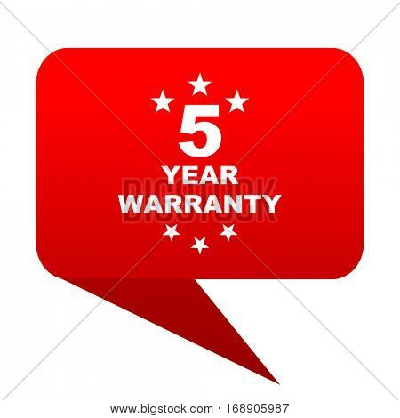 warranty guarantee 5 year bubble red icon