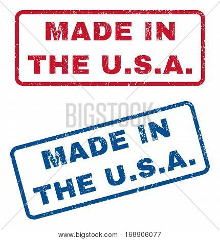 Made In The U.S.A. text rubber seal stamp watermarks. Vector style is blue and red ink tag inside rounded rectangular banner. Grunge design and dirty texture. Blue and red emblems.