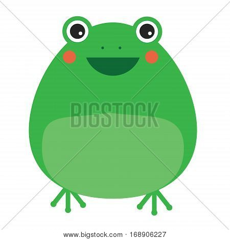 Cute kawaii frog character. Children style vector illustration. Sticker design element for kids books