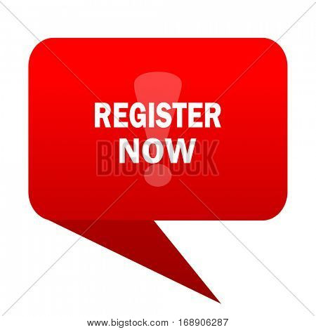 register now bubble red icon