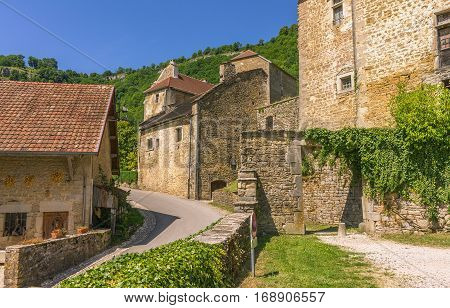 Picturesque medieval village Chateau-Chalon. Chalon Departement Jura Franche-Comte France