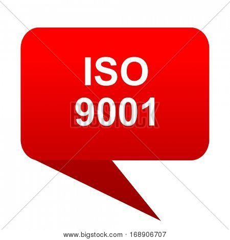 iso 9001 bubble red icon