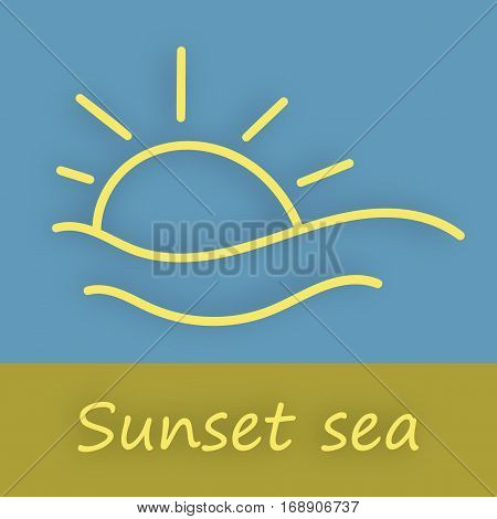 Illustration of a sunset over the sea abstract landscape.
