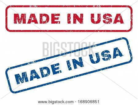 Made In USA text rubber seal stamp watermarks. Vector style is blue and red ink caption inside rounded rectangular shape. Grunge design and unclean texture. Blue and red signs.