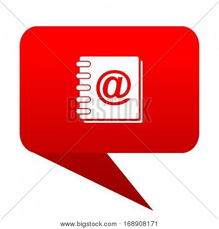 address book bubble red icon