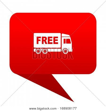 free delivery bubble red icon