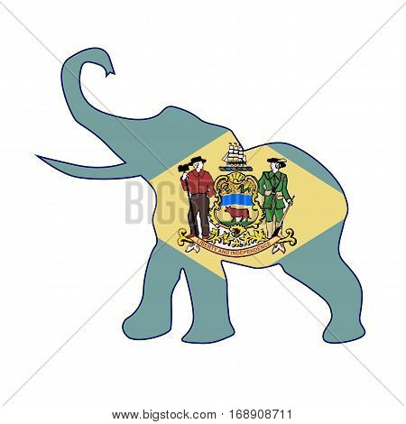 The Delaware Republican elephant flag over a white background