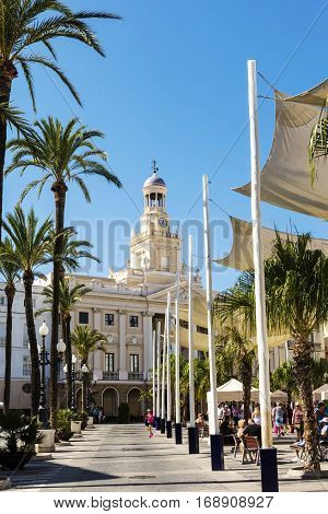 CADIZ, SPAIN - SEPTEMBER 27: Important building of Town Hall dates from around 1799 at the Plaza de San Juan de Dios in the centre of Cadiz on September 27, 2016.