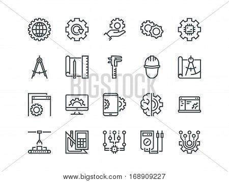 Engineering. Set of outline vector icons. Includes such as Manufacturing, Engineer, Tool, Production, Settings and other