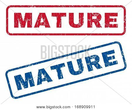 Mature text rubber seal stamp watermarks. Vector style is blue and red ink tag inside rounded rectangular banner. Grunge design and dirty texture. Blue and red signs.