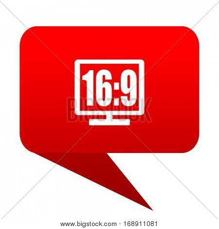 16 9 display bubble red icon