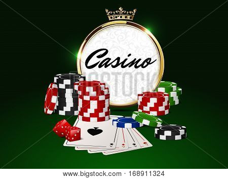 Round casino golden frame with crown stack of poker chips ace cards and red dice on green background. Online club emblem