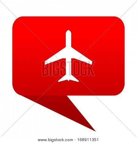 Plane bubble red icon