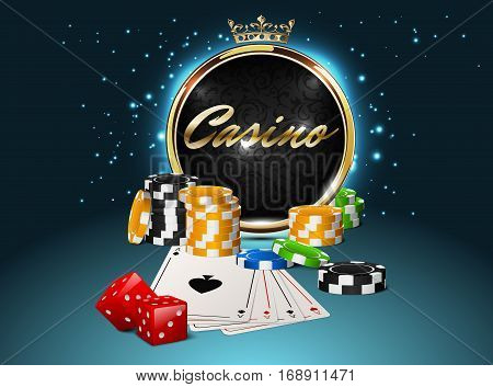Round casino golden frame with crown stack of poker chips ace cards and red dice on light effect sparks background. Online club emblem