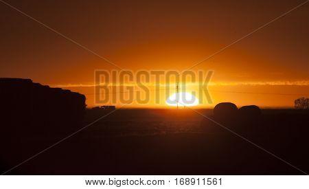 Prairie Sunset Sillouette in Saskatchewan Canada scenic