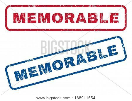 Memorable text rubber seal stamp watermarks. Vector style is blue and red ink tag inside rounded rectangular shape. Grunge design and scratched texture. Blue and red stickers.
