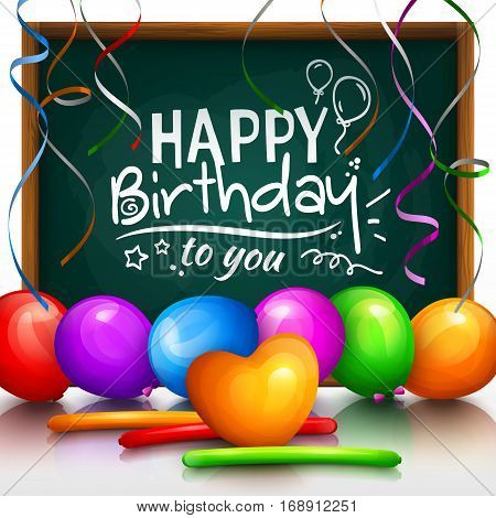 Happy birthday greeting card. Party multicolored balloons, colorful streamers and stylish lettering on chalkboard.