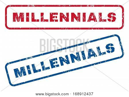 Millennials text rubber seal stamp watermarks. Vector style is blue and red ink tag inside rounded rectangular shape. Grunge design and dirty texture. Blue and red signs.