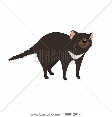 Tasmanian devil with black fur vector illustration for children isolated on white background