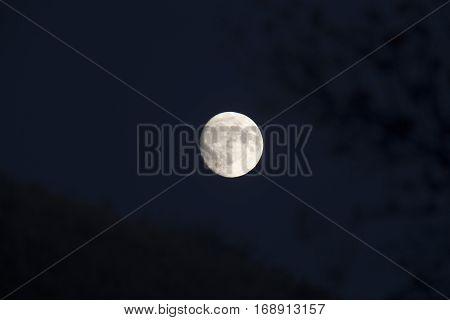 Full Moon Canada sillouette dark sky super