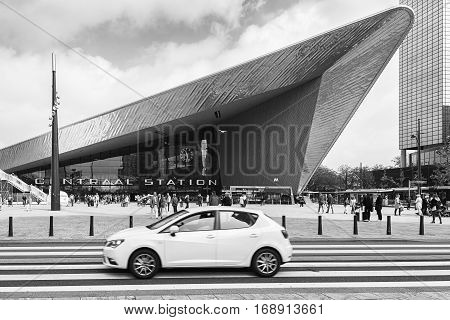 Rotterdam, The Netherlands - May 26, 2016:  In front of Central Station Rotterdam