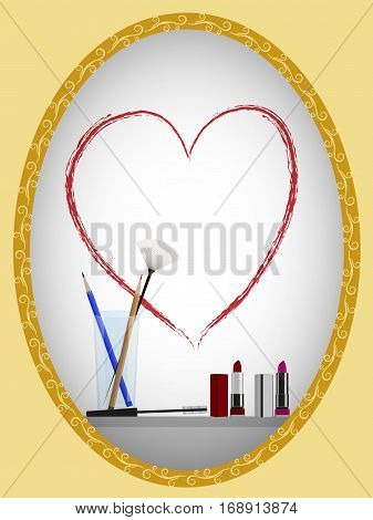 Decorative cosmetics on the shelf under the mirror, painted with lipstick on the mirror silhouette of the heart, vector illustration
