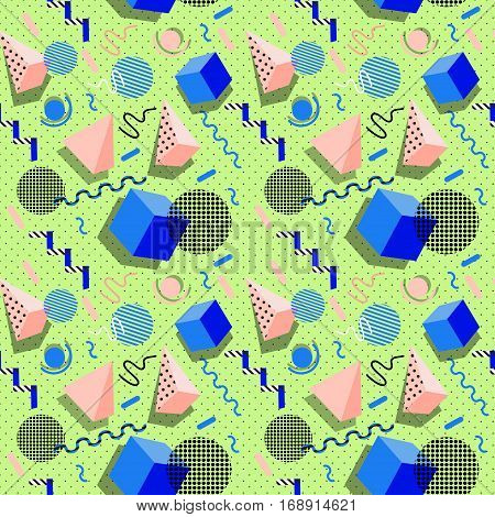 Memphis pattern. Vector. Pastel colours. Retro and vintage