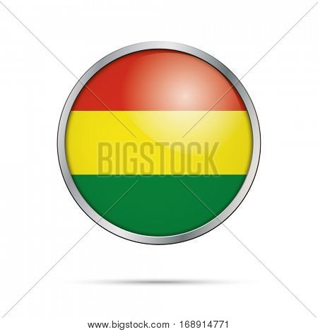 Vector Bolivian flag button. Bolivia flag glass button style with metal frame.