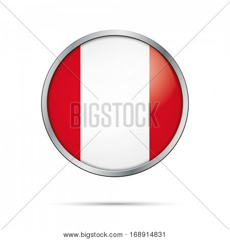 Vector Peruvian flag button. Peru flag glass button style with metal frame.
