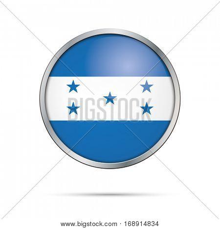 Vector Honduran flag button. Honduras flag glass button style with metal frame.