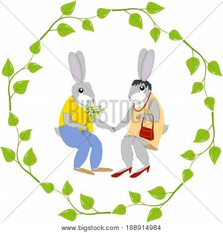 Romantic card, hare gives flowers to doe-hare in a frame of leaves isolated on white background, vector illustration
