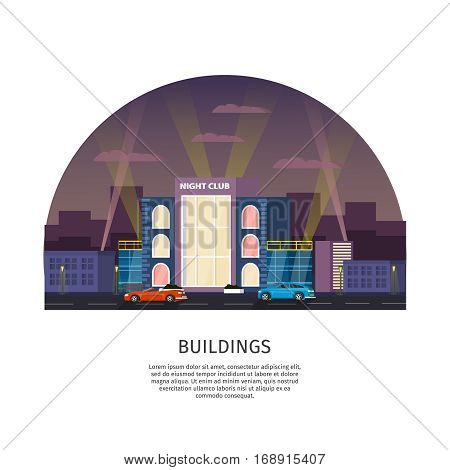 Municipal building template with night club cityscape cars and light projectors vector illustration