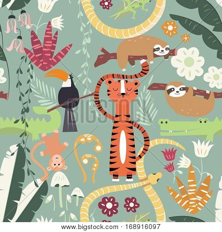 Seamless pattern with cute rain forest animals tiger snake sloth vector illustration