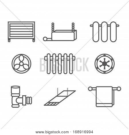 Home heating icons set - collection of outline heating systems symbols or signs