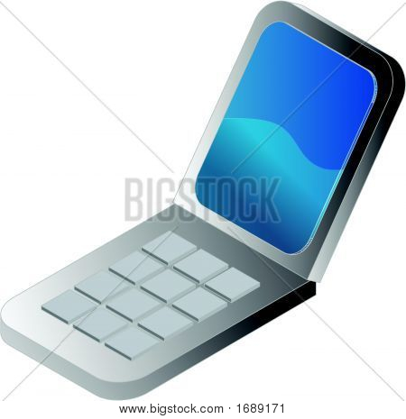 Clamshell Cellphone Illustration, 3D Isometric Style