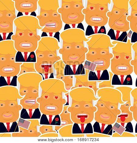Pattern of president USA Trump. Vector illustration