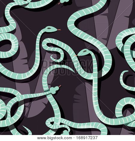 Seamless pattern with colorful intertwined striped rain forest snakes, vector illustration