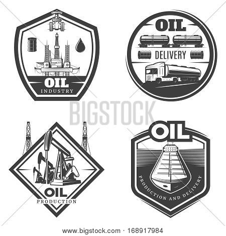 Vintage petroleum industry labels with oil extraction production delivery and transportation isolated vector illustration