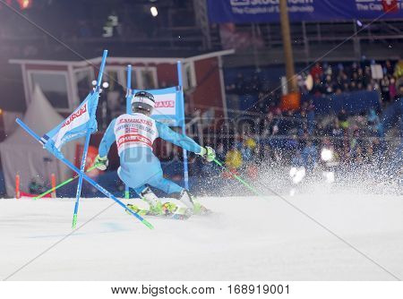 STOCKHOLM SWEDEN - JAN 31 2017: Rear view of Sebastian Foss-Solevaag (NOR) fighting in the parallel slalom alpine ski event Audi FIS Ski World Cup. January 31 2017 Stockholm Sweden