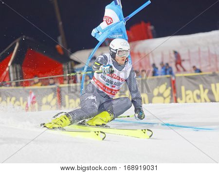 STOCKHOLM SWEDEN - JAN 31 2017: LGiuliano Razzoli (ITA) downhill skiing winner of the Alpine Audi FIS Ski World Cup - city event January 31 2017 Stockholm Sweden