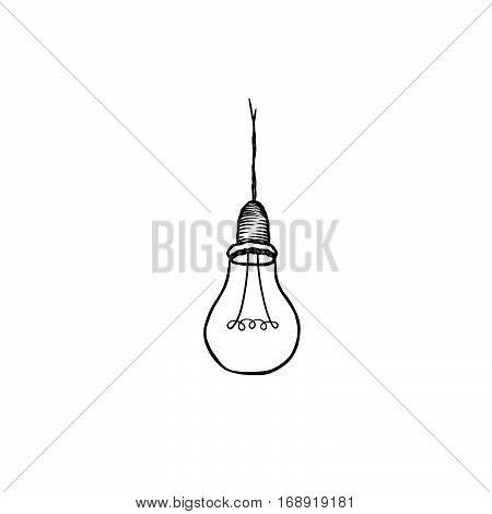 Lamp Bulb Isolated Over White Background. Light Icon. Doodle Line Vector Sketch