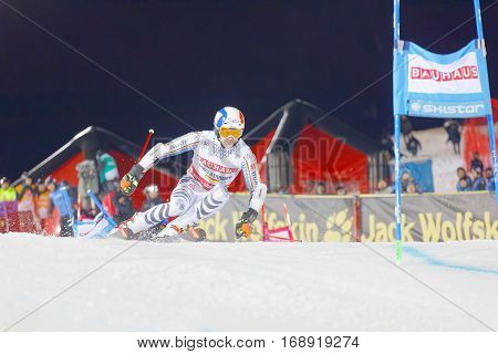 STOCKHOLM SWEDEN - JAN 31 2017: Linus Strasser (GER) downhill skiing winner of the Alpine Audi FIS Ski World Cup - city event January 31 2017 Stockholm Sweden