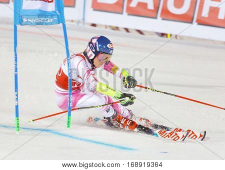 STOCKHOLM SWEDEN - JAN 31 2017: Mikaela Shiffrin (USA) fighting in the downhill skiing parallel slalom makes a turn at the Alpine Audi FIS Ski World Cup - city event January 31 2017 Stockholm Sweden